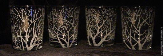 Бокалы, стаканы ручной работы. Ярмарка Мастеров - ручная работа. Купить Стаканы Осень гравировка по стеклу. Handmade. Бокалы, стекло