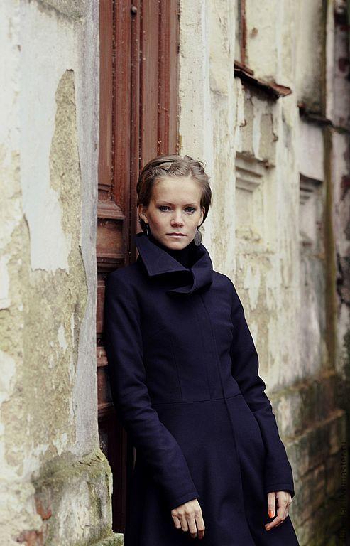 """Верхняя одежда ручной работы. Ярмарка Мастеров - ручная работа. Купить Пальто """"Ностальгия"""". Handmade. Тёмно-синий, пальто на подкладе"""