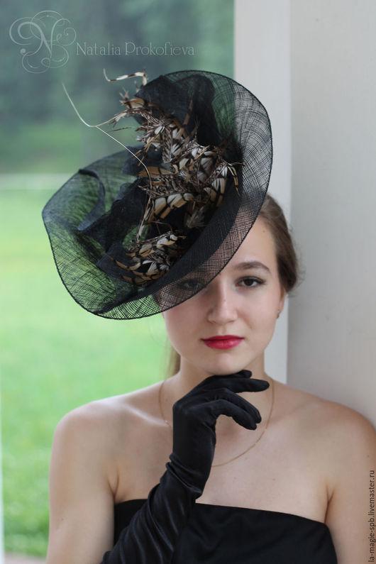 """Шляпы ручной работы. Ярмарка Мастеров - ручная работа. Купить Эксклюзивная шляпка """"Лети в мой сад голубка"""". Handmade. Черный"""