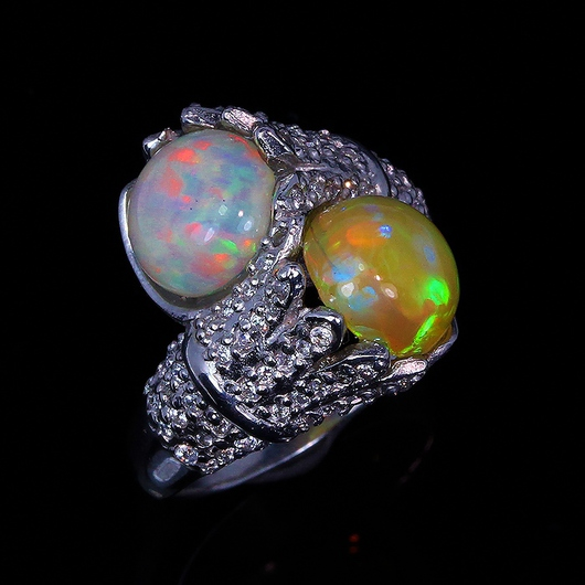 """Кольца ручной работы. Ярмарка Мастеров - ручная работа. Купить """" Двойное счастье"""" кольцо с опалом Эфиопии. Handmade. Разноцветный"""