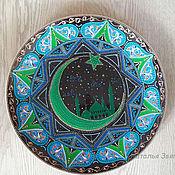 Тарелка интерьерная, настенная Ночь, ручная роспись.