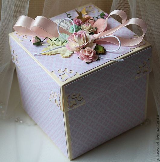 """Подарочная упаковка ручной работы. Ярмарка Мастеров - ручная работа. Купить Подарочная коробочка """"Благодарность"""". Handmade. Бледно-розовый, подарок"""