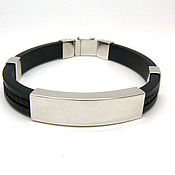 Bead bracelet handmade. Livemaster - original item Bracelet rubber with a silver engraving plate under. Handmade.