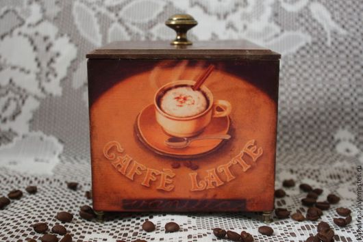 """Кухня ручной работы. Ярмарка Мастеров - ручная работа. Купить Короб для кофе """"Кофейная соната"""". Handmade. Коричневый, кофе"""