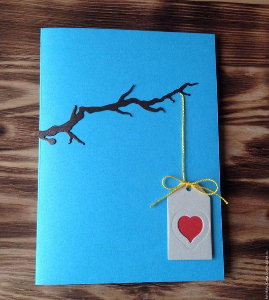Открытки к другим праздникам ручной работы. Ярмарка Мастеров - ручная работа. Купить Открытка для любимой. Handmade. Голубой, открытка для женщины