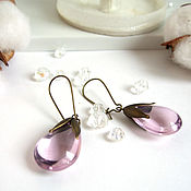 Украшения handmade. Livemaster - original item Earrings Brass Drops Rainbow Colored Glass Lilac Lavender. Handmade.