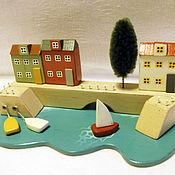 """Для дома и интерьера ручной работы. Ярмарка Мастеров - ручная работа миниатюра """"Город у моря"""". Handmade."""