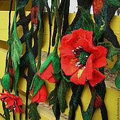 """Аксессуары ручной работы. Ярмарка Мастеров - ручная работа Валяный шарф пояс """" Маковое поле"""". Handmade."""