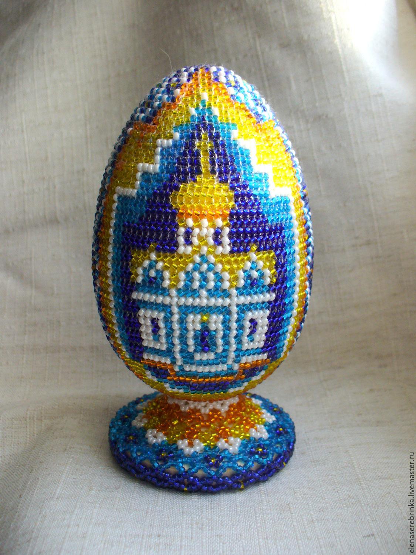 Яйцо из бисера ручное ткачество мастер класс поделка #7