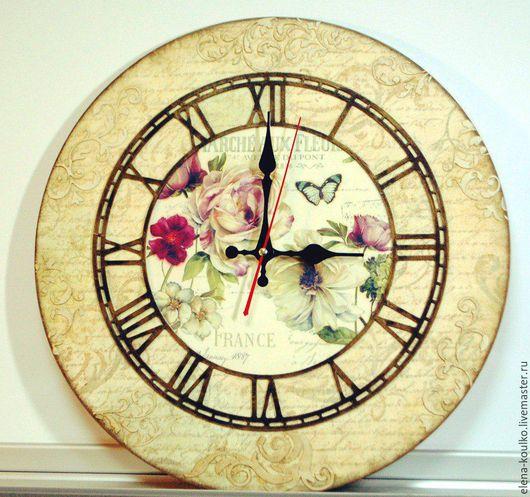 """Часы для дома ручной работы. Ярмарка Мастеров - ручная работа. Купить Часы из комплекта """"Пионы Франции"""". Handmade. Бежевый"""