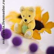 Куклы и игрушки ручной работы. Ярмарка Мастеров - ручная работа Медведь миник Одуванчик (7 см). Handmade.