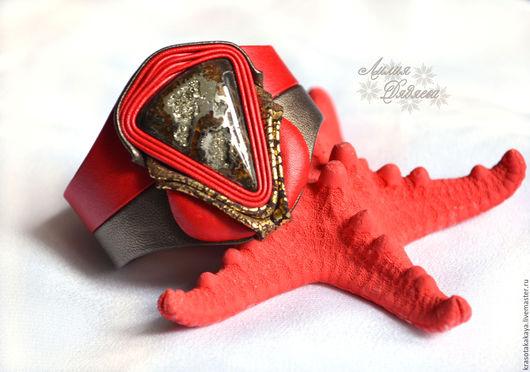 браслет из кожи, кожаный браслет, браслет с камнем, браслет ручной работы, из кожи браслет, стильный браслет, женский кожаный браслет, интернет-магазин Ярмарка Мастеров
