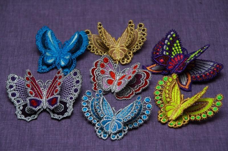 Машинная вышивка бабочки