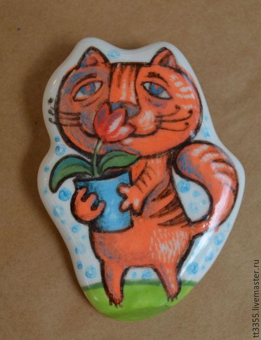 Броши ручной работы. Ярмарка Мастеров - ручная работа. Купить брошь керамика котик с горшочком. Handmade. Оранжевый, художественная роспись