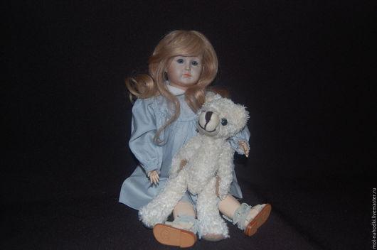 Винтажные куклы и игрушки. Ярмарка Мастеров - ручная работа. Купить -20% Фарфоровая куколка 35 см. Handmade. Голубой