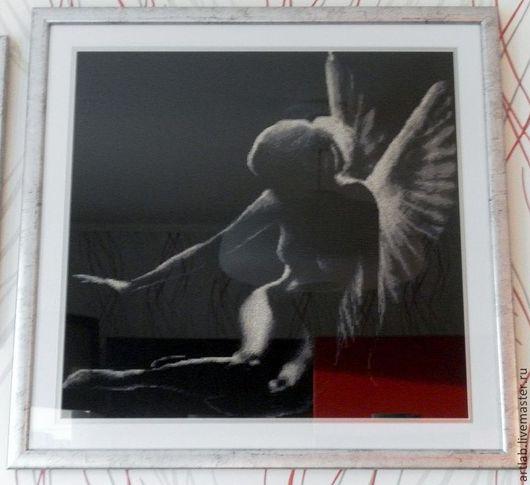 Фантазийные сюжеты ручной работы. Ярмарка Мастеров - ручная работа. Купить Тень Ангела. Handmade. Черный, белый, светло-коричневый