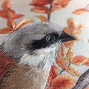"Картины и панно handmade. Livemaster - original item ""Птичка Сорокопут"",  вышивка шелком. Handmade."