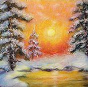 """Картины и панно ручной работы. Ярмарка Мастеров - ручная работа Картина шерстью """"Зимнее утро"""". Handmade."""