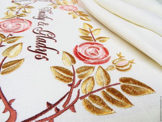 Дорожка с вышивкой `Плетистая роза`  `Шпулькин дом` мастерская вышивки