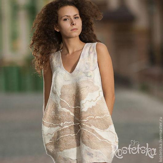 """Платья ручной работы. Ярмарка Мастеров - ручная работа. Купить Платье-кокон """"Чайная роза"""" бежевый, белый, шерсть, шелк. Handmade."""