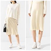 Одежда handmade. Livemaster - original item Skirt made of silk with a slant cut slip of any color MIDI. Handmade.