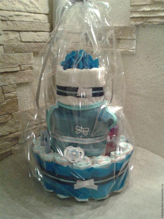 Подарки для новорожденных, ручной работы. Ярмарка Мастеров - ручная работа. Купить Торт из памперсов для новорожденного. Handmade. Синий, слюнявчик
