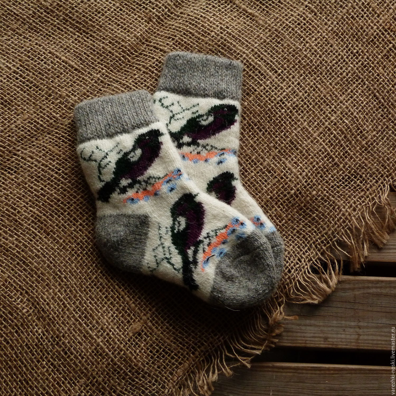 Socks baby wool winter birds, Socks, Moscow,  Фото №1