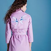 Одежда handmade. Livemaster - original item Cotton trench coat with hand-embroidered