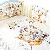 Бортики в кроватку ручной работы. Ярмарка Мастеров - ручная работа Комплект в кроватку Лесные Друзья. Handmade.