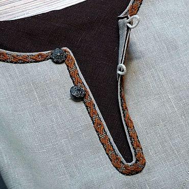 Clothing handmade. Livemaster - original item Shirt men`s linen all-day ancient cut with woven braid. Handmade.