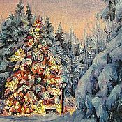 Картины и панно ручной работы. Ярмарка Мастеров - ручная работа Новогодний лес. Handmade.
