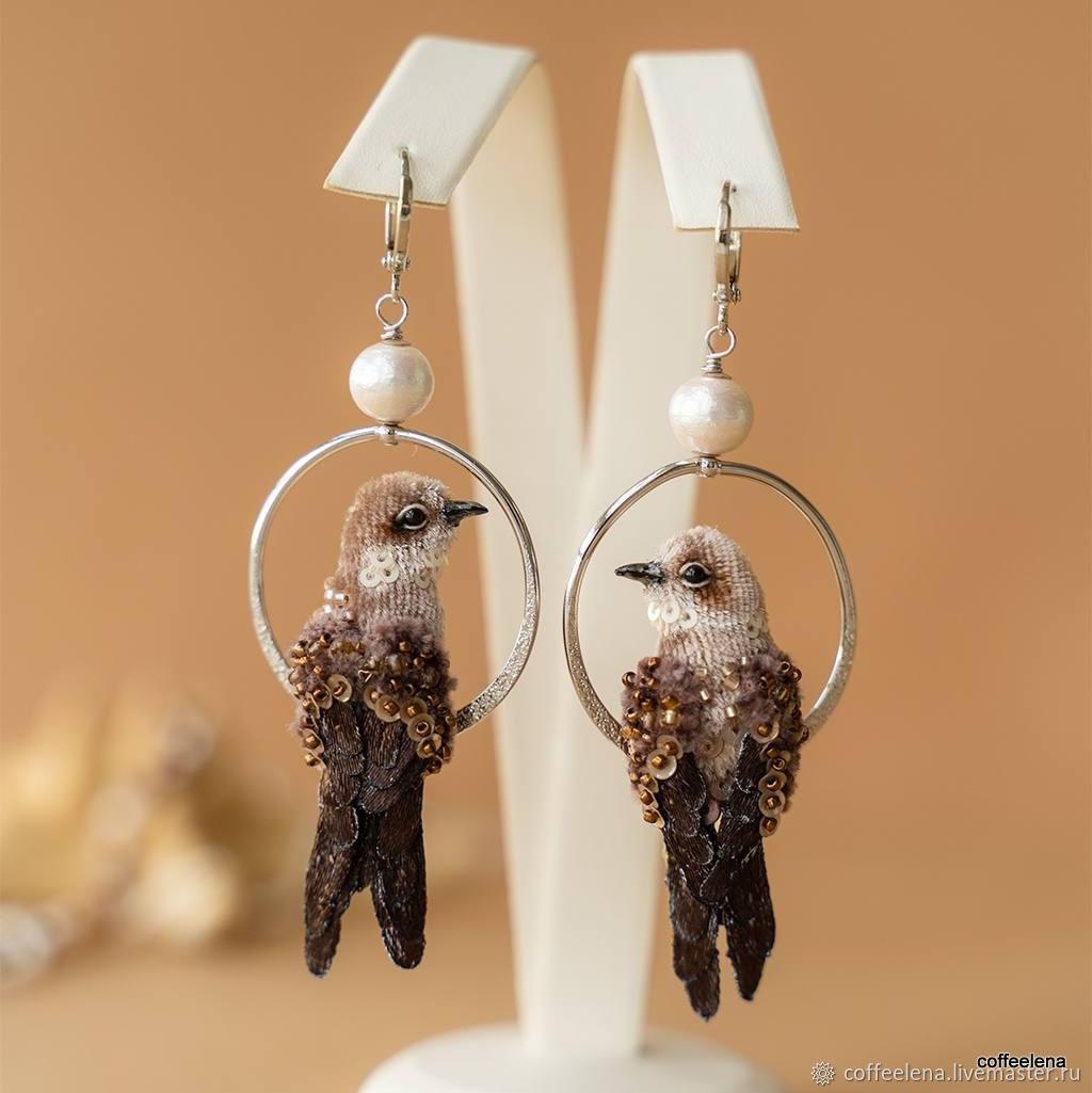 Bird earrings ' Coastal Swallows'. Miniature birds, Earrings, Krasnodar,  Фото №1