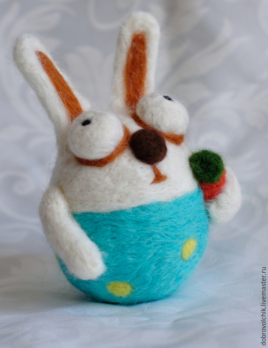 """Игрушки животные, ручной работы. Ярмарка Мастеров - ручная работа. Купить Игрушка """"Задумчивый зайчик"""". Handmade. Разноцветный, игрушка, морковка"""