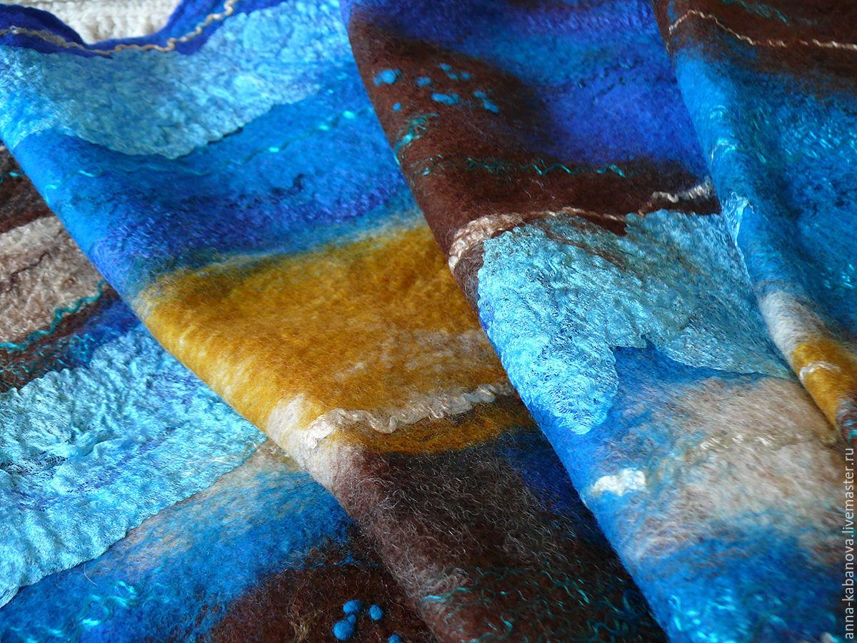 Валяный шарф из шерсти мериноса, Шарфы, Обнинск,  Фото №1