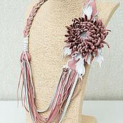 Украшения handmade. Livemaster - original item Necklace: chrysanthemum. Decoration on the neck of the skin with flowers.. Handmade.