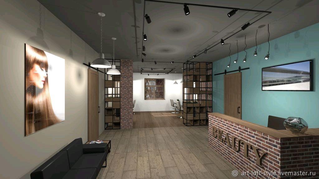Индивидуальный дизайн проект интерьера салона красоты на Кутузовском проспекте. Заказать дизайн проект на Ярмарке Мастеров в нашем интернет-магазине.