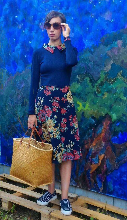 Платья ручной работы. Ярмарка Мастеров - ручная работа. Купить Платье с воротником цветочный принт. Handmade. Цветы, вискоза