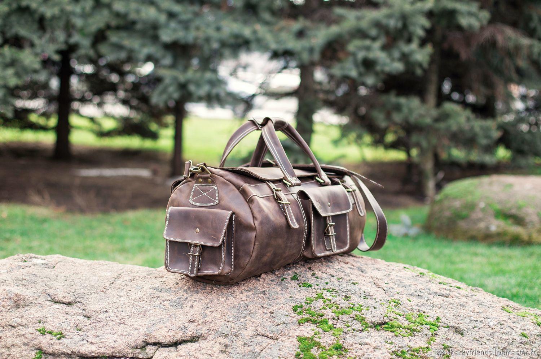 3a8b7b478c06 Дорожная сумка из коричневой кожи Мужские сумки ручной работы. Большая кожаная  сумка БИЗОН. Дорожная сумка из коричневой кожи.