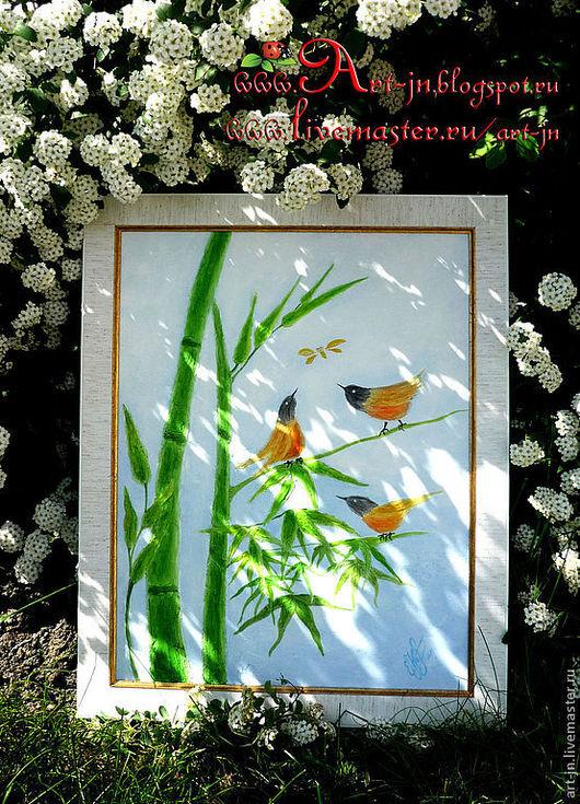 """Птички"" Фреска на стекломагнизитовом листе в багете"