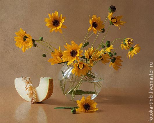Фотокартины ручной работы. Ярмарка Мастеров - ручная работа. Купить этюд с дынькой. Handmade. Желтый, дыня, цветы, осень, лето