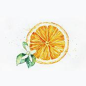 Картины и панно ручной работы. Ярмарка Мастеров - ручная работа Апетитный апельсин, акварель.. Handmade.