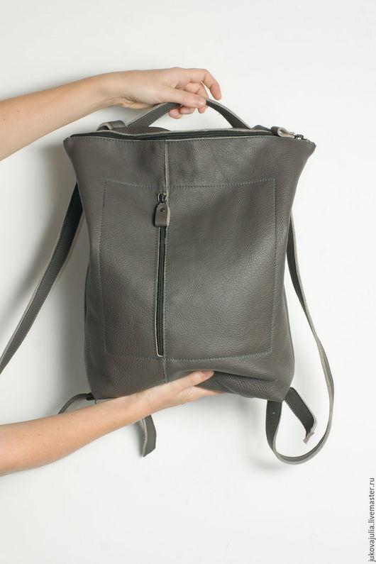 Рюкзаки ручной работы. Ярмарка Мастеров - ручная работа. Купить Рюкзак серый городской из натуральной кожи #15.07.16. Handmade.