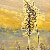 """Картины и панно ручной работы. Ярмарка Мастеров - ручная работа Картина """" Всегда вместе. Поцелуй ."""" Пейзаж Травы. Handmade."""