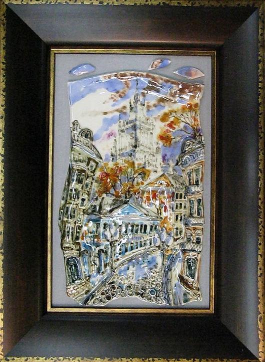 Город ручной работы. Ярмарка Мастеров - ручная работа. Купить Старый Арбат. Handmade. Керамика, голубой, ручная работа