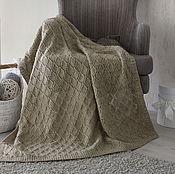 Для дома и интерьера ручной работы. Ярмарка Мастеров - ручная работа Серый плед вязаный спицами из деревенской шерсти. Handmade.