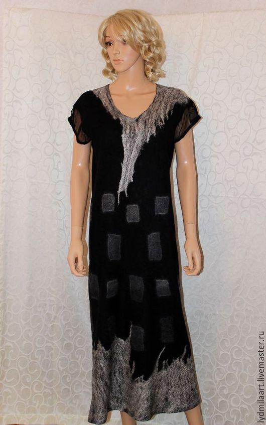 Платья ручной работы. Ярмарка Мастеров - ручная работа. Купить Платье чёрное нунофелт – сэндвич «Морозец». Большой размер.. Handmade.