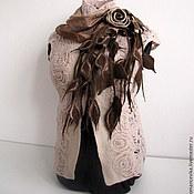 """Аксессуары ручной работы. Ярмарка Мастеров - ручная работа шарф и брошь """"Сладкая роза"""". Handmade."""