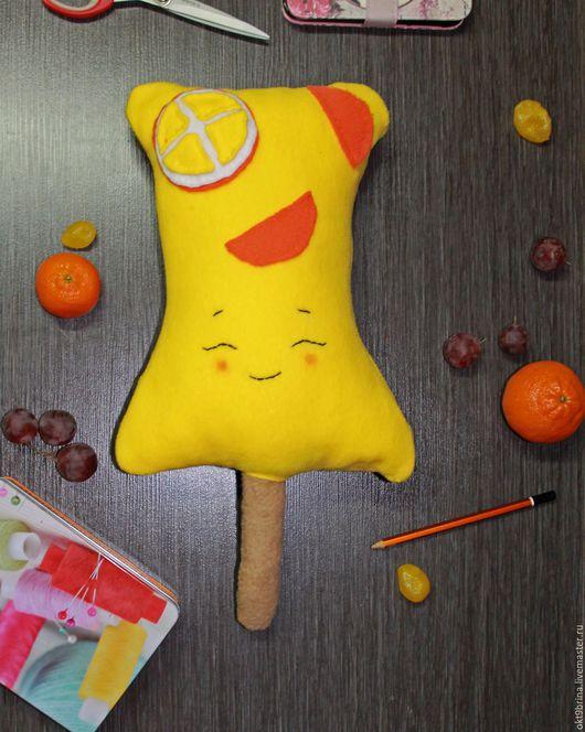 """Текстиль, ковры ручной работы. Ярмарка Мастеров - ручная работа. Купить Игрушка-подушка """"Мороженое Лимонное"""". Handmade. Желтый, Декор"""