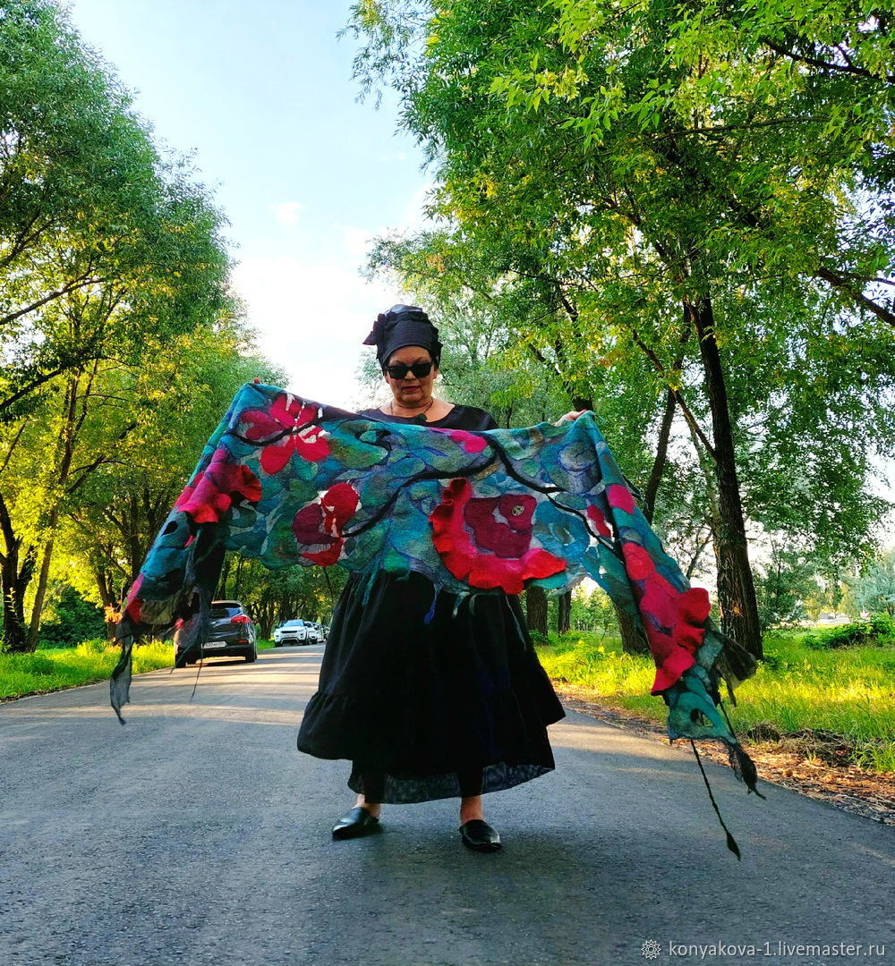 Палантин с 3D цветами...Чарующий, Палантины, Омск,  Фото №1