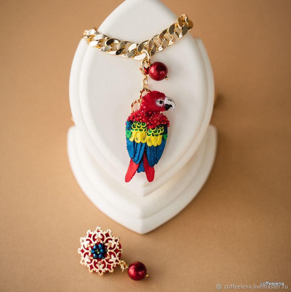 Pendant-brooch-necklace 'macaw Parrot'. 3-in-1, Earrings, Krasnodar,  Фото №1
